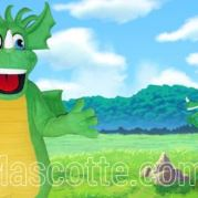 Fabrication Mascotte Sur Mesure dragon vert (mascotte animal sur mesure).