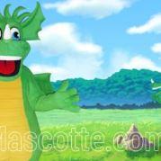 Fabrication Mascotte Sur Mesure dragon vert (mascotte animal sur mesure).