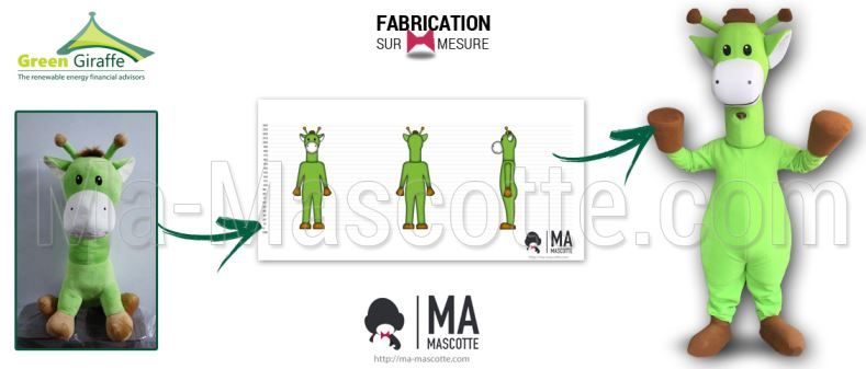 Fabrication Mascotte Sur Mesure girafe verte GREEN GIRAFFE (mascotte animal sur mesure).