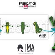 Fabrication Mascotte Sur Mesure lézard caméléon (mascotte animal sur mesure).
