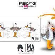 Fabrication Mascotte Sur Mesure mouette BEL AIR (mascotte animal sur mesure).