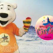 Fabrication Mascotte Sur Mesure ours polaire blanc BABABOOM (mascotte animal sur mesure).