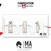 Fabrication Mascotte Sur Mesure ours polaire bihr (mascotte animal sur mesure).