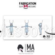 Fabrication Mascotte Sur Mesure renne bleu (mascotte animal sur mesure).