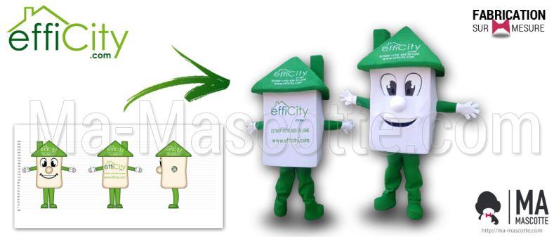Fabrication Mascotte Sur Mesure maison EFFICITY (mascotte objet sur mesure).