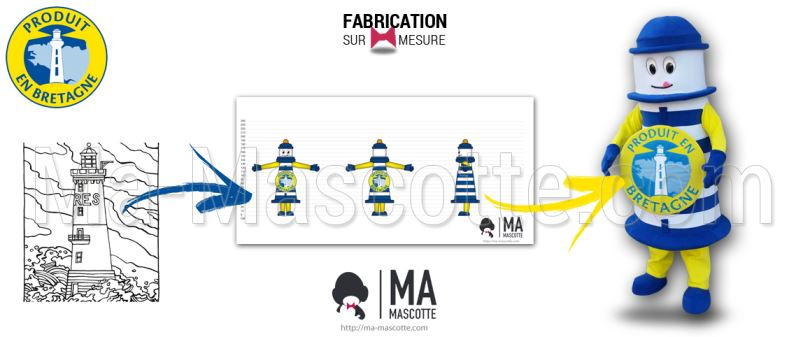 Fabrication Mascotte Sur Mesure phare PRODUIT EN BRETAGNE (mascotte objet sur mesure).