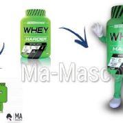 Fabrication Mascotte Sur Mesure pot de protéine (mascotte objet sur mesure).