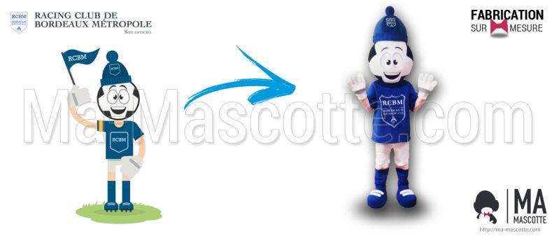 Fabrication Mascotte Sur Mesure footballer RACING CLUB BORDEAUX (mascotte personnage sur mesure).