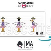 Fabrication Mascotte Sur Mesure cigogne fille CAMPINGS (mascotte animal sur mesure).