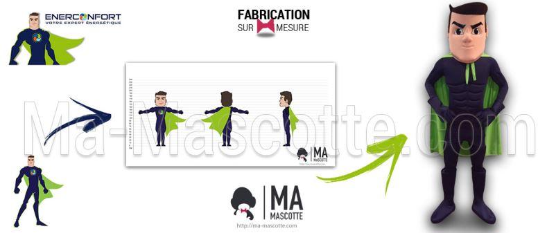 Fabrication Mascotte Sur Mesure super hero ENERCONFORT (mascotte personnage sur mesure).