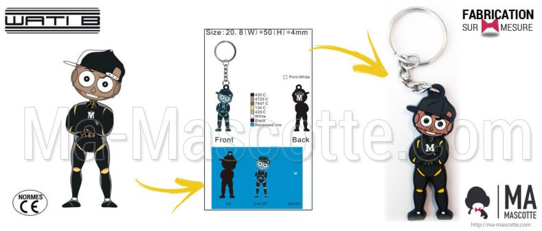 Custom Made PVC Keychain BLACK M character (custom keychain).