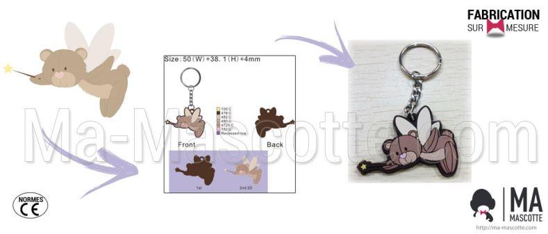 Fabrication Porte Clés PVC Sur Mesure ours (porte clés sur mesure).