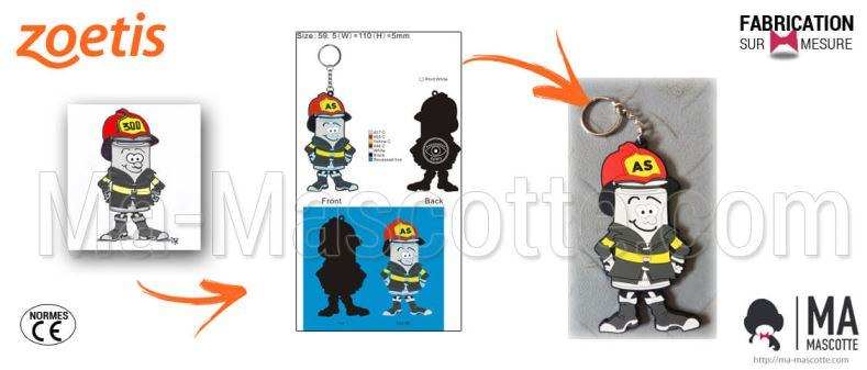 Custom Made PVC Keychain fireman ZOETIS (custom keychain).