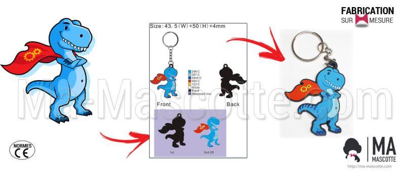 Fabrication Porte Clés PVC Sur Mesure dinosaure DEVOPSREX (porte clés sur mesure).