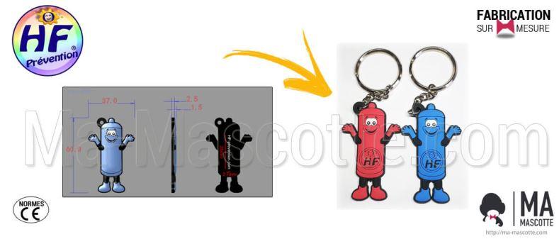 Fabrication Porte Clés PVC Sur Mesure préservatif HF (porte clés sur mesure).
