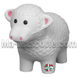 Fabrication figurine antistress sur mesure mouton. Antistress mousse personnalisé.
