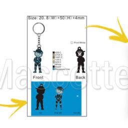 Fabrication Porte Clés Sur Mesure PVC Wati B Black M.