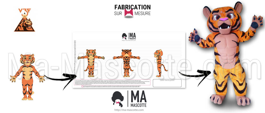 Tiger animal mascot with visible muscles for the V3F Badminton sports club. Sports club tiger mascot made to measure in fake fur.