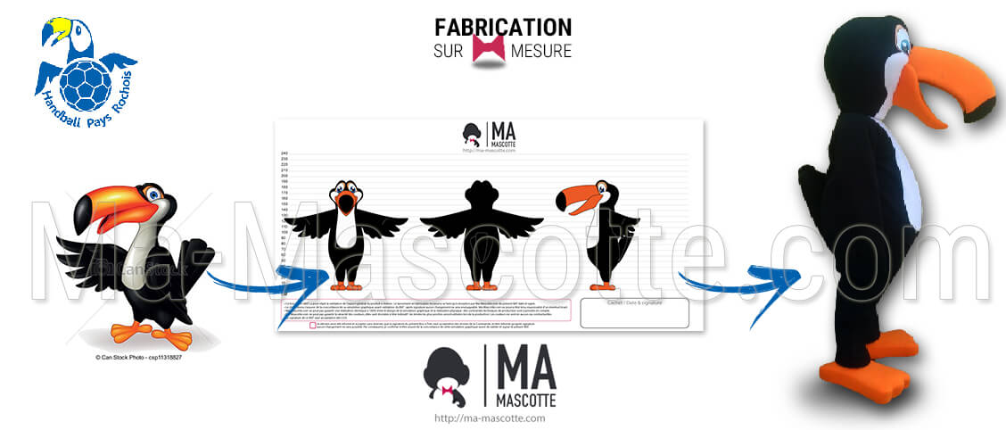 Toucan bird mascot created for Pays Rochois Handball and its matches and events. Toucan club handball mascot costume.
