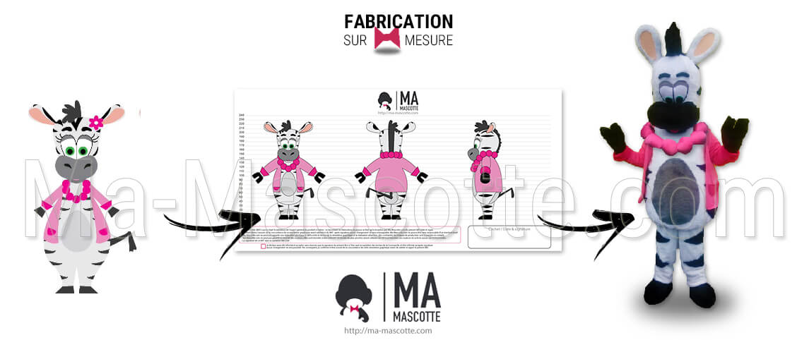 Unique and original creation of a cartoon zebra mascot. Fully personalized show mascot.