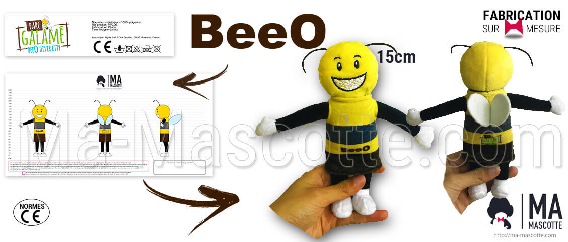 Custom made bee plush toy for the Galamé Parc. Custom plush bee supplier.