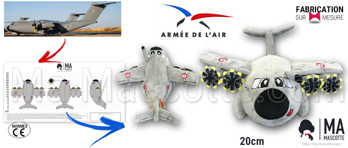 Plane plush toy custom manufacturing for the French air army. Plane plush toy supplier.