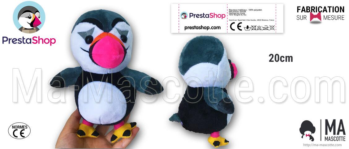 Prestashop penguin plush. Manufacturing of the penguin plush for the Prestashop brand. Custom manufacturing.