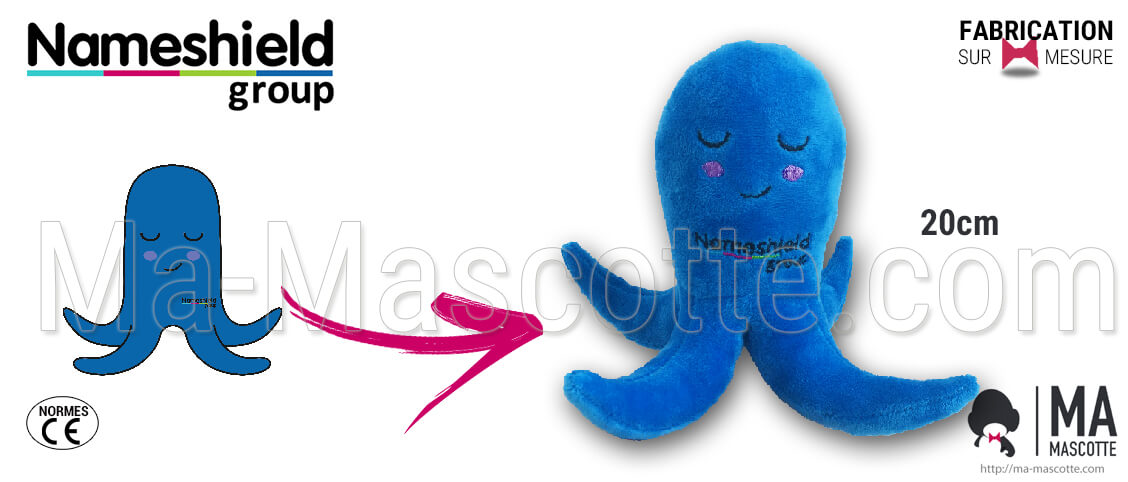 Octopus plush for the Nameshield brand. Creation of a custom blue octopus plush.