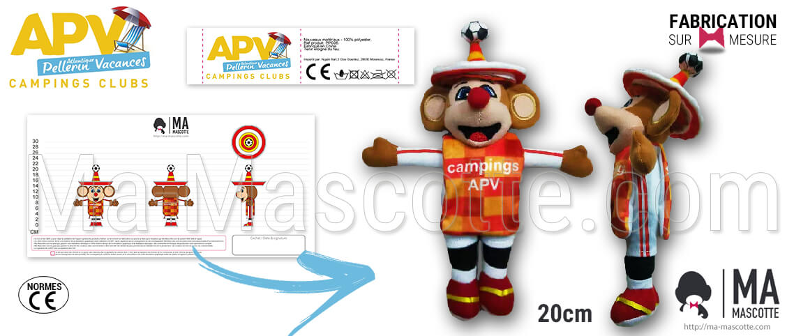 Custom Mexican mouse plush with a soccer ball for APV camping. Creation and design of custom mouse plush.