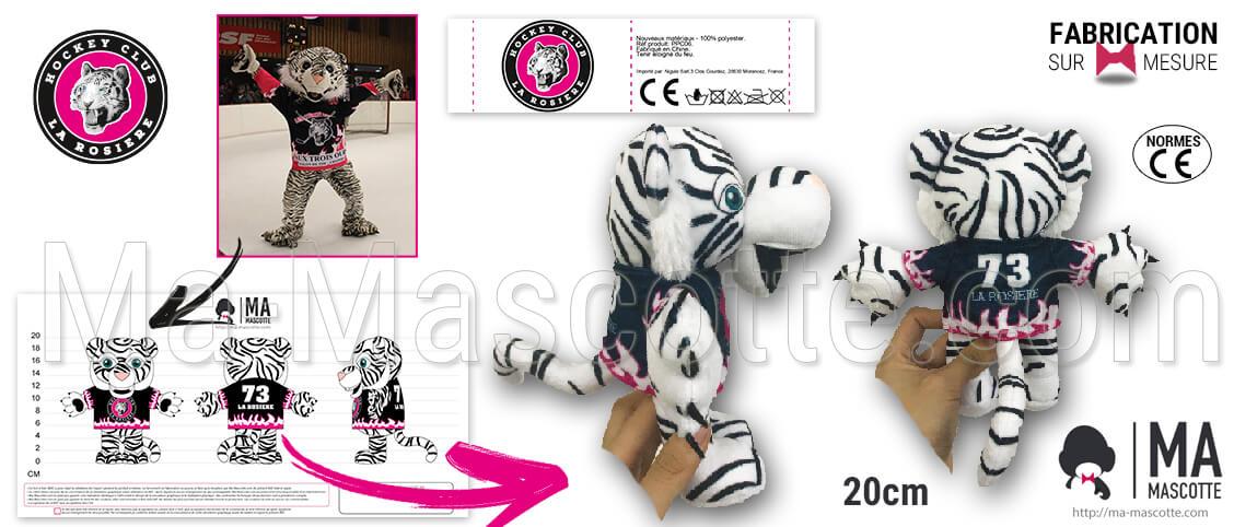 Tiger plush toy for La Rosiere hockey club. Custom made tiger plush with hockey jersey.
