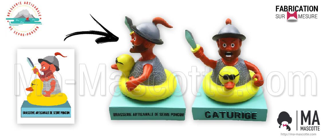 Caturige custom-made figurine for the artisanal greenhouse poncon brewery. Custom figurine manufacturing as goodies.