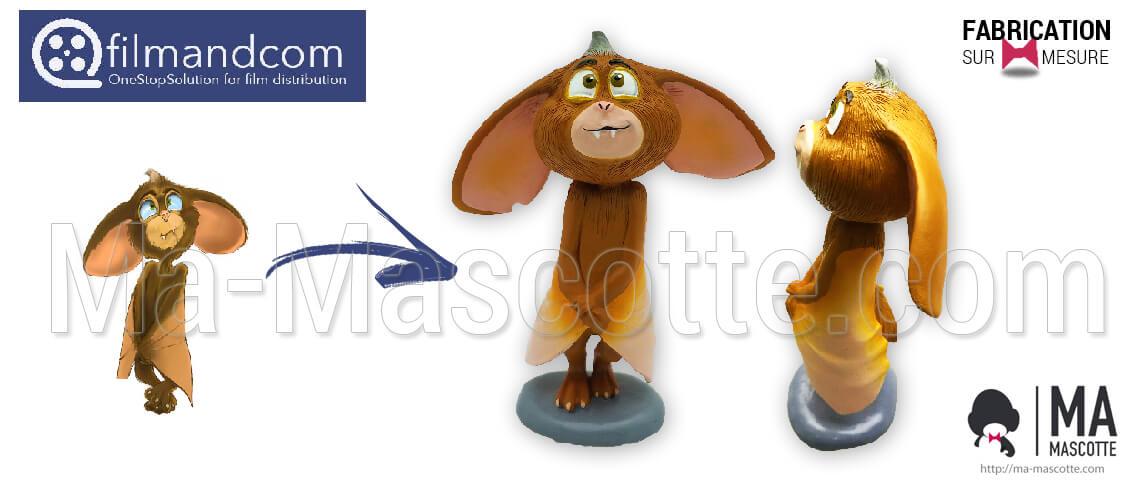 Creation of a custom bat figurine for the Filmandcom brand. Manufacture of a bat figurine as advertising goodies.