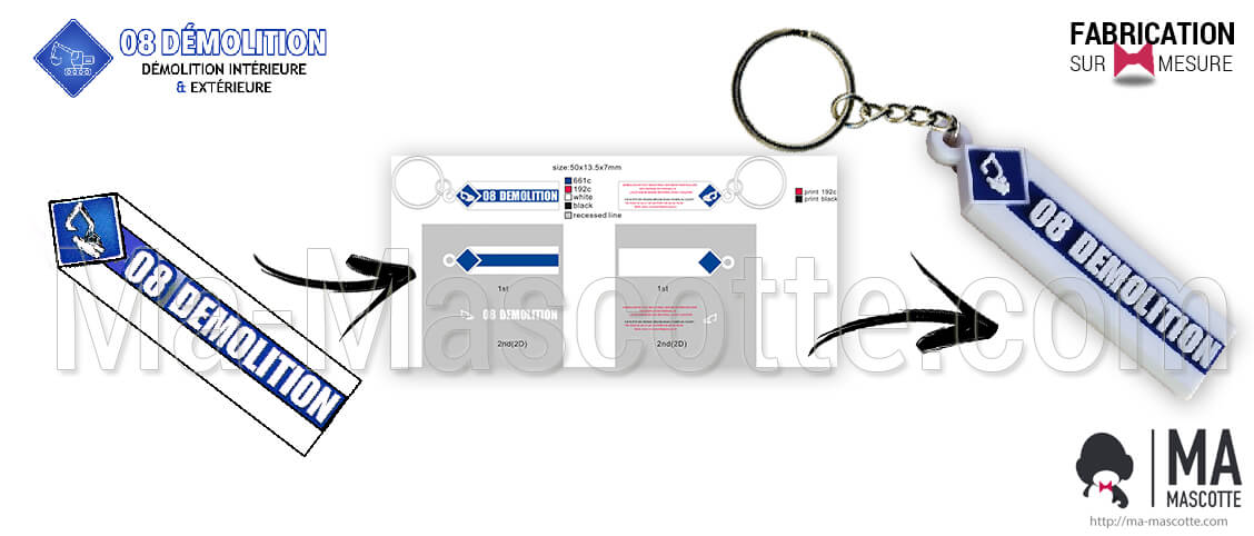 Plastic keychain personalized with the customer's logo 08 DEMOLITION. Custom keychain demolition. Personalized design.
