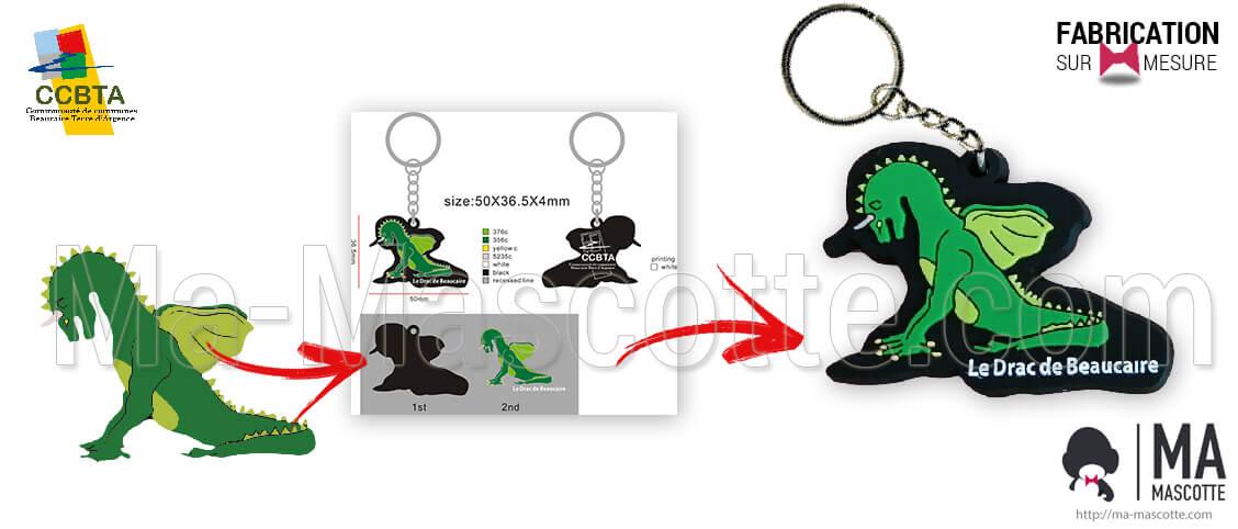 Key chain the drac de beaucaire. Custom creation of plastic keychain the drac de Beaucaire. Personalized keychain.
