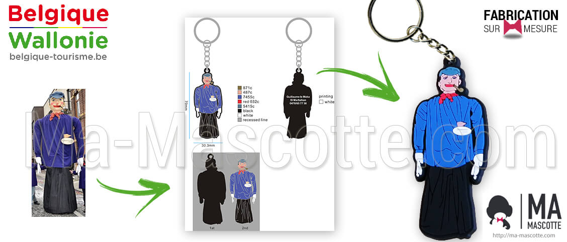 Keychain representing a giant from Marbehan for Belgium and Wallonia. Manufacturer personalized and custom keychain.